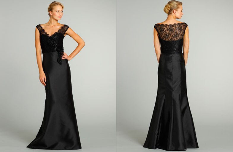 bridesmaids dresses for stylish bridal parties Alvina Valenta from JLM Couture black illusion top