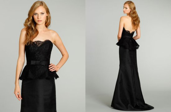 bridesmaids dresses for stylish bridal parties Noir by Lazaro from JLM Couture black lace trumpet