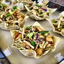 Asian Chicken Slaw in Wonton