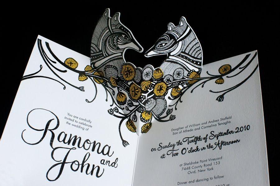gorgeous pop up wedding invitations elegant black white gold - Pop Up Wedding Invitations