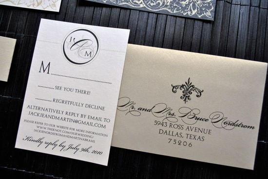 Weddings by style Parisian romance wedding decor inspiration gold black elegant invite