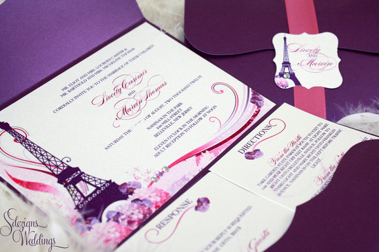 weddings by style Parisian romance wedding decor inspiration puple pink invitation