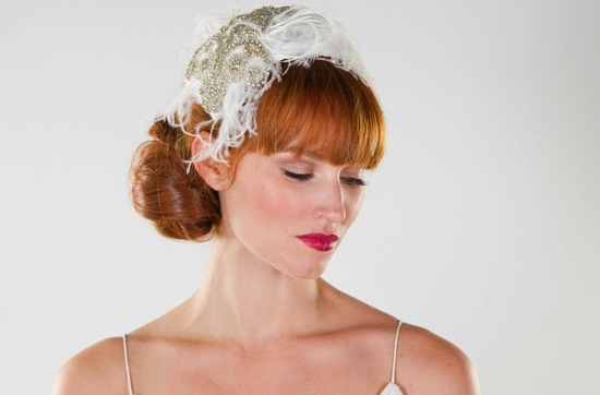 weddings by style Parisian romance wedding decor inspiration crystal feather cap