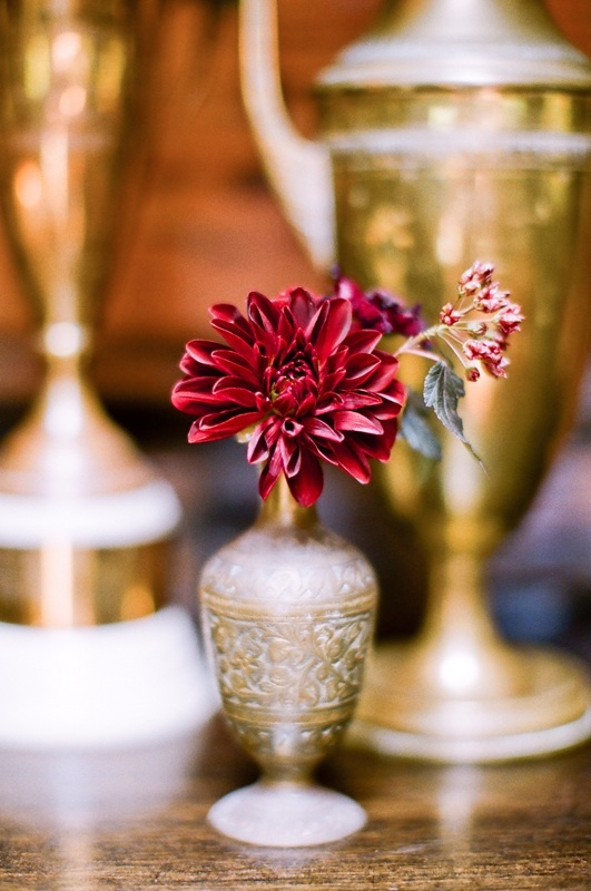 Brass + Burgundy Centerpiece