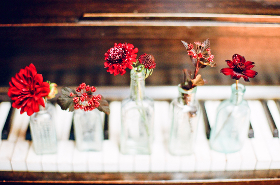 Red, Burgundy + Vintage Glass