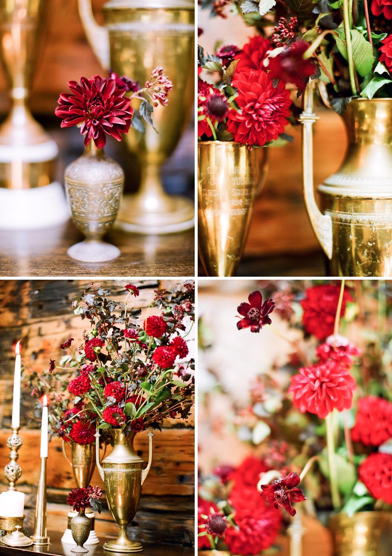 red gold burgundy wedding flowers elegant reception table