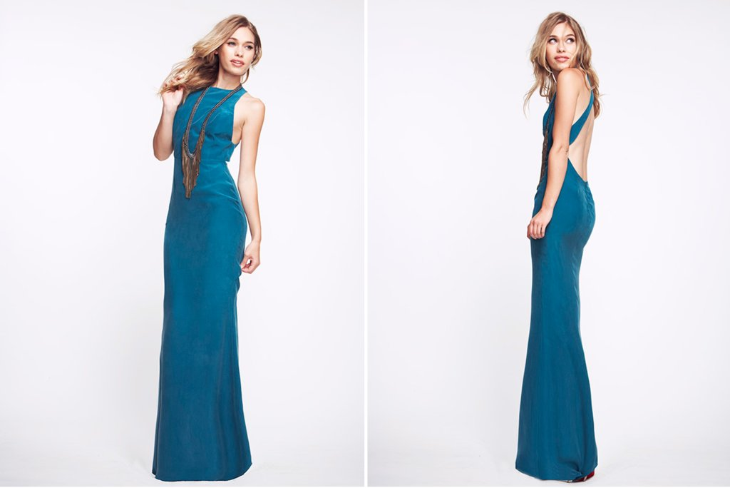 california bridesmaids gowns statement back long teal
