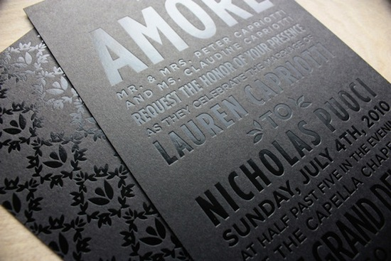 photo of beautiful wedding invitations metallic foil stamping black silver