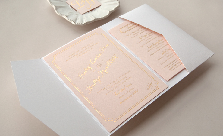 beautiful wedding invitations metallic foil stamping blush pink gold 2