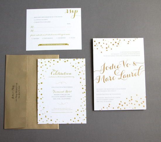 photo of beautiful wedding invitations metallic foil stamping gold white 1
