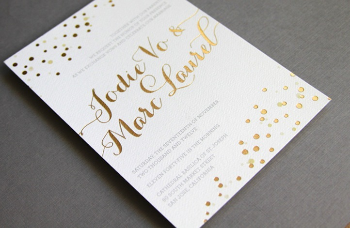 beautiful wedding invitations metallic foil stamping gold white 1