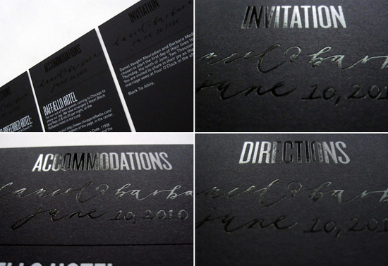 beautiful wedding invitations metallic foil stamped modern silver black white 2