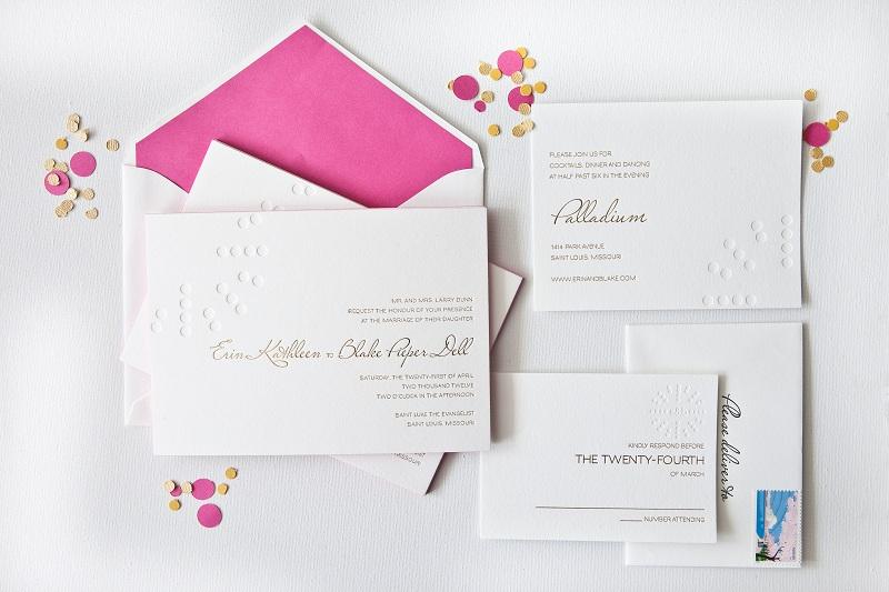simple elegant foil stamped wedding invitations white gold pink 1