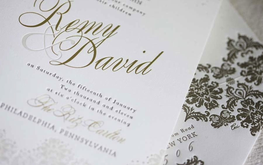 foil stamped wedding invitations gold white opulent, Wedding invitations