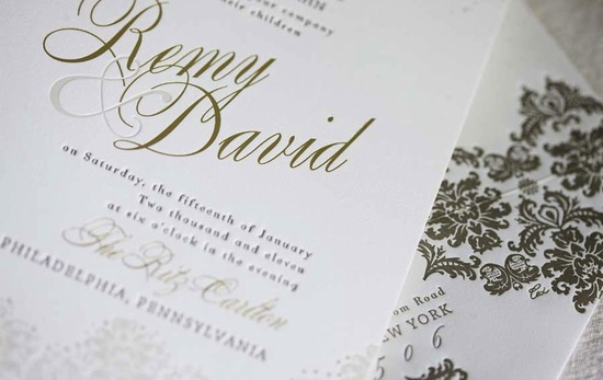 photo of elegant foil stamped wedding invitations gold white opulent