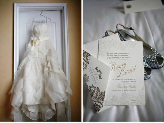 photo of elegant foil stamped wedding invitations inspired by vera wang wedding dress
