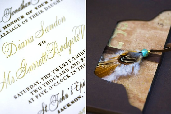 photo of beautiful wedding invitations metallic foil stamped rustic elegance