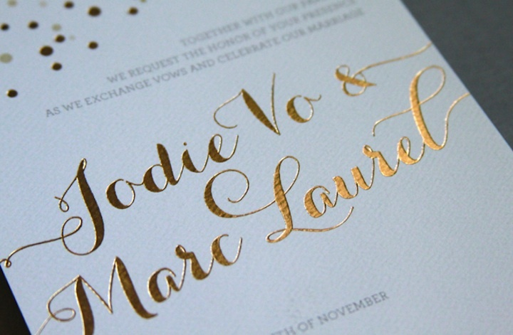 wedding invitations metallic foil stamping gold white detail