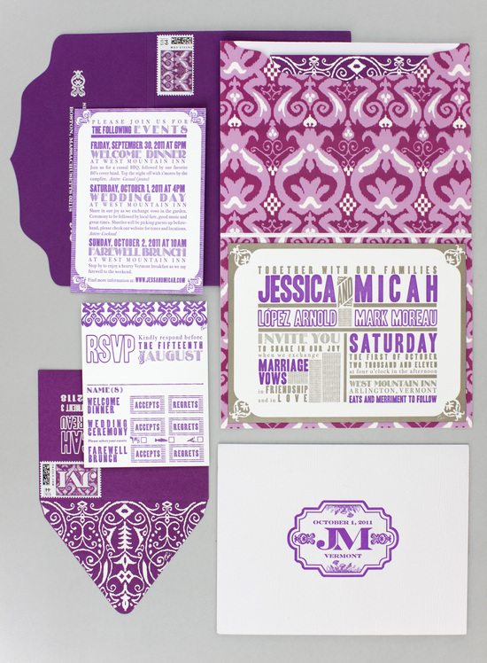 Purple and White Letterpress with Gold Foiling