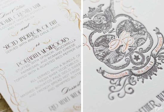 photo of wedding invitation with rose gold foiling
