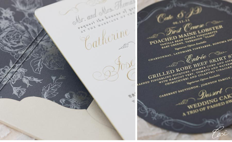 letterpress wedding invitation floral with gold foiling