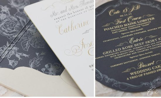 photo of elegant letterpress wedding invitation floral with gold foiling