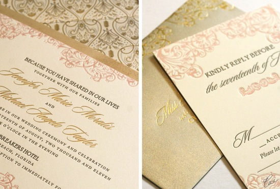 photo of gorgeous foil stamped wedding invitations gold cream blush pink