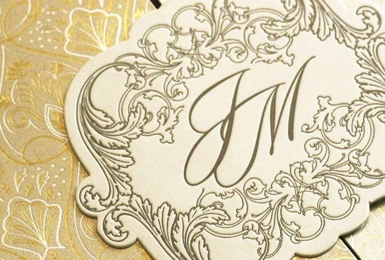 photo of gorgeous foil stamped wedding invitations gold ivory ornate