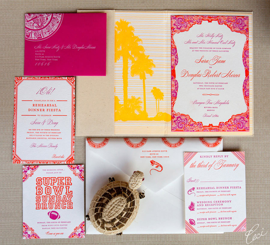 photo of Bold Invitation for a Festive Mexico Destination Wedding