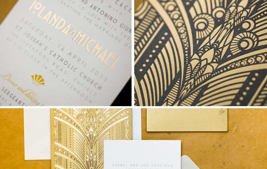 gold stamped wedding invitations elegant ornate art deco