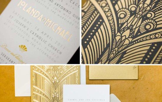 photo of gold stamped wedding invitations elegant ornate art deco