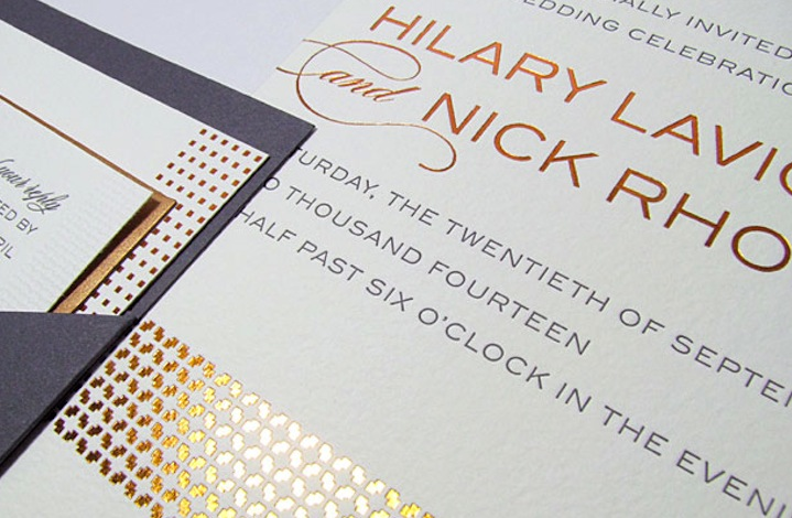 Gold Foil Stamped Wedding Invitations: Elegant Wedding Invitations Rose Gold Foil Stamped
