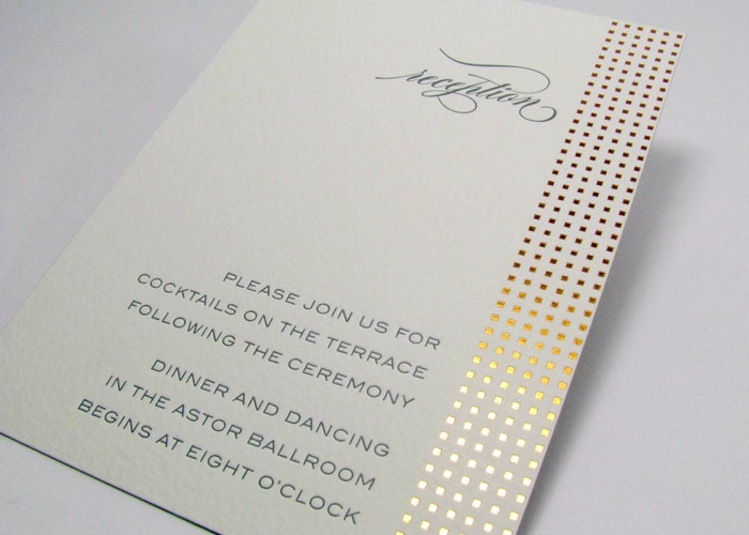 gold stamped reception invitation