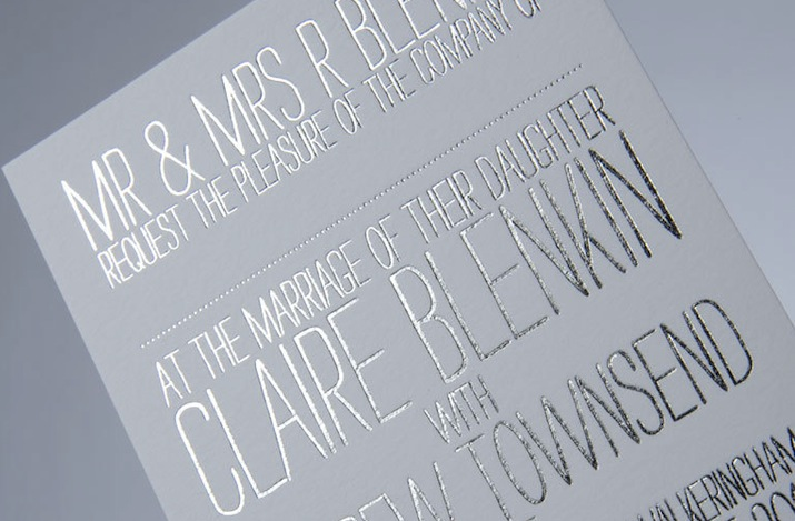 Gold Foil Stamped Wedding Invitations: White Silver Wedding Invitations Foil Stamped