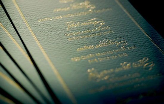 photo of foil stamped wedding invitations deep teal gold