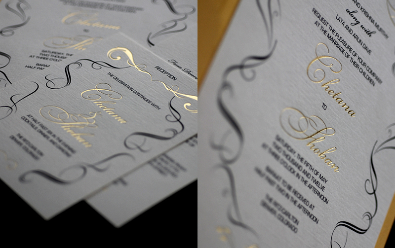 gold black white wedding invitations elegant
