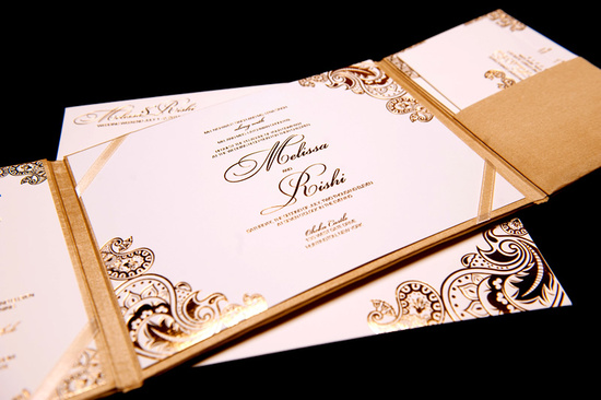 gold white wedding invitations foil stamped