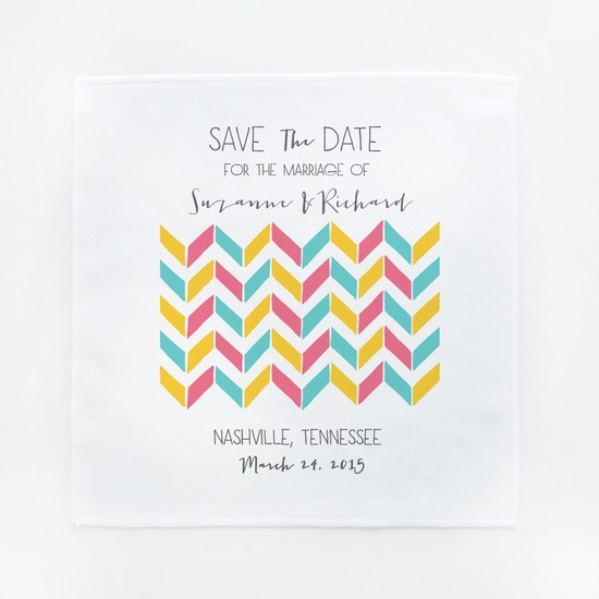 photo of Modern Chevron Save-the-Date Hankies