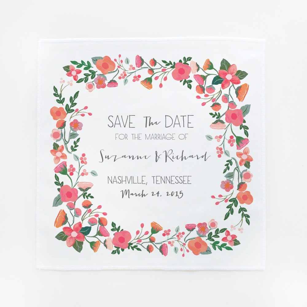 Save The Date Wedding Floral Ornament Wedding Floral: Garden Floral Save-the-Date Hankies