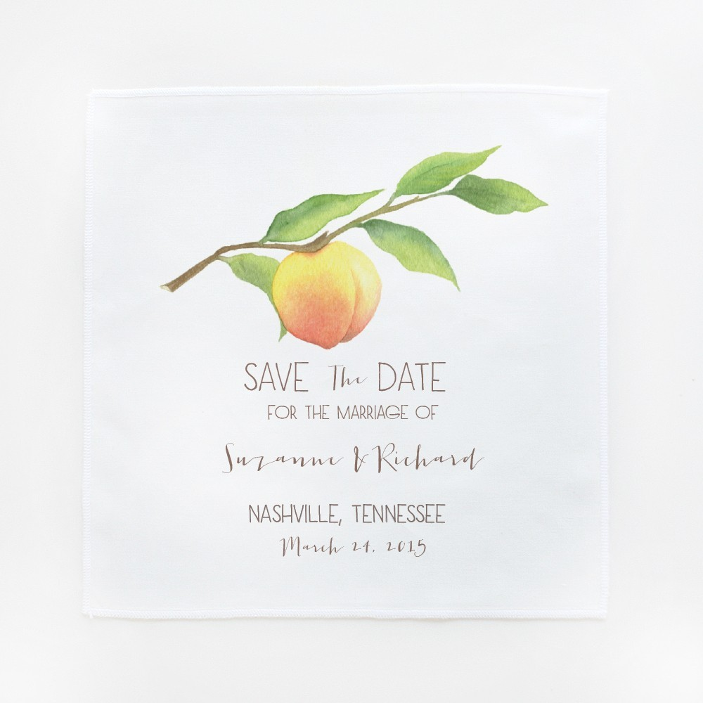 Peachy Save the Date Hankies