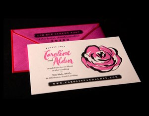 photo of wedding stationery crush Ladyfingers Letterpress rose invitation suite