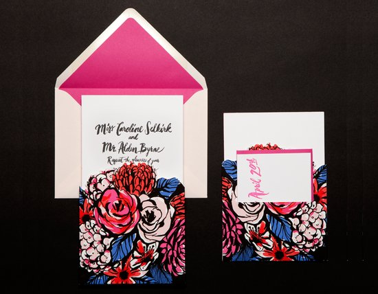bold modern floral wedding invitation red pink blue black