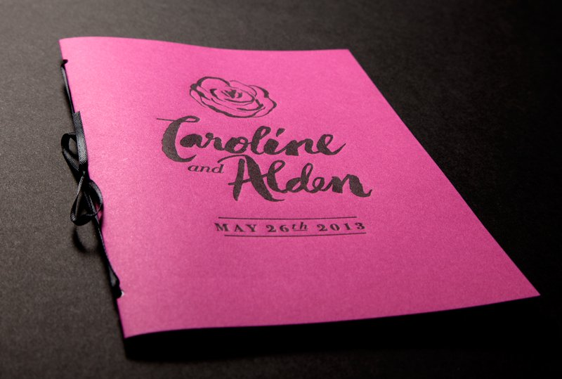 bold rose wedding inspiration ceremony reception stationery pink black programs