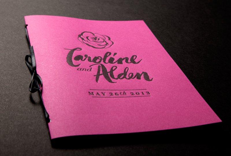 Bold-rose-wedding-inspiration-ceremony-reception-stationery-pink-black-programs.full