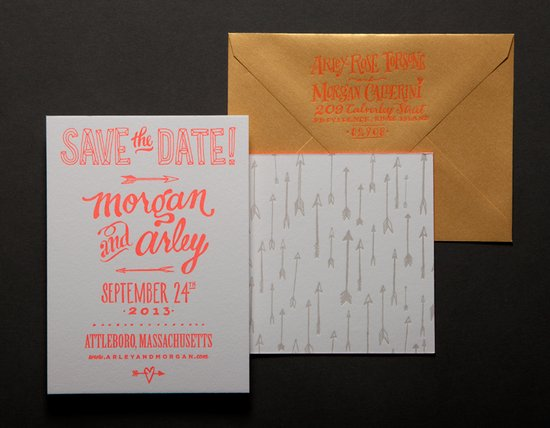 ladyfingers letterpress wedding invitations stationery ecru neon orange