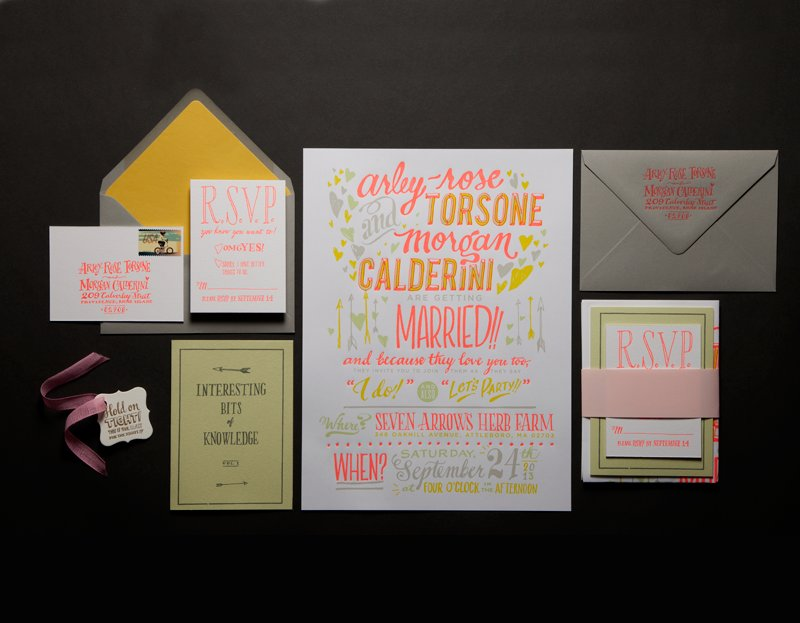 letterpress wedding invitations stationery citrus neon with neutrals