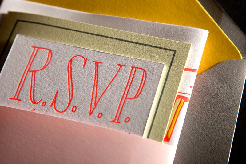 ladyfingers letterpress wedding invitations stationery citrus neon with neutrals