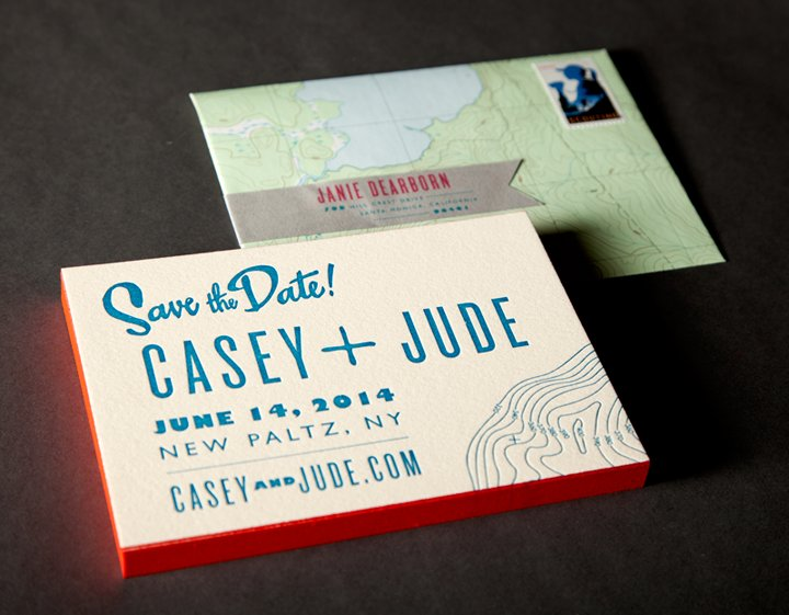 Ladyfingers letterpress wedding invitations stationery playful rustic ivory blue