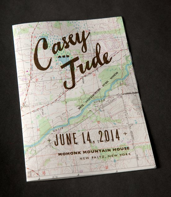 map wedding programs rustic outdoor wedding