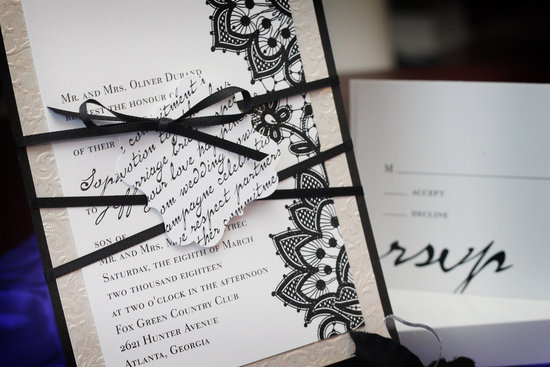 embossed wedding inspiration from Etsy black white ecru invitation